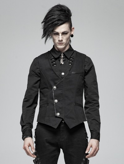 Punk Rave Black Gothic Simple Vest for Men