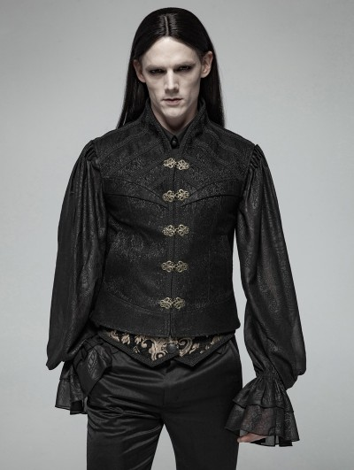 Punk Rave Black Gothic Victorian Jacquard Vest for Men