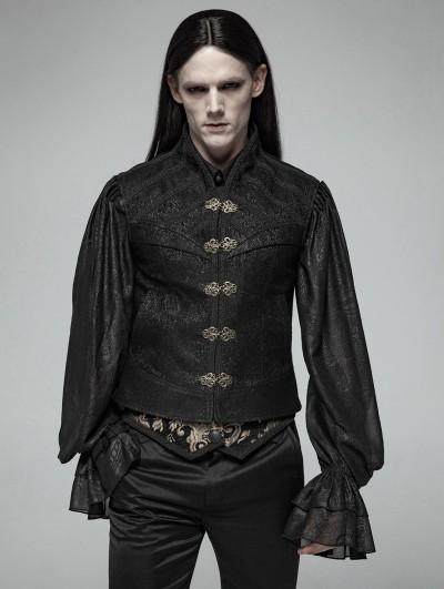 Punk Rave Black Gothic Victorian Jacquard Vest for Men