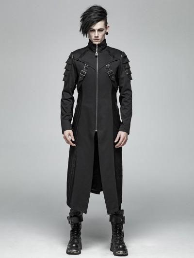 Punk Rave Black Gothic Punk Armor Long Jacket for Men