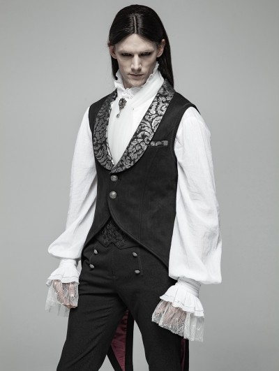 Punk Rave Black Gothic Swallow Tail Vest for Men
