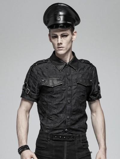 Punk Rave Black Gothic Punk Short Sleeve Do Old Shirt for Men