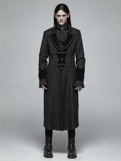 Punk Rave Black Gothic Vampire Master Long Coat for Men