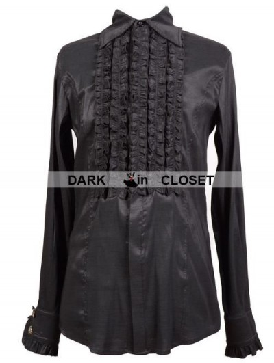 Pentagramme Black Long Sleeves Gothic Blouse for Men