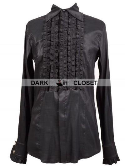 Pentagramme Black Long Sleeves Gothic Blouse for Men