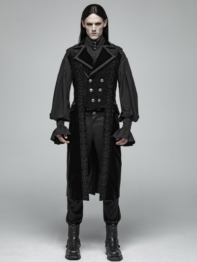 Punk Rave Black Gothic Victorian Gorgeous Long Vest for Men