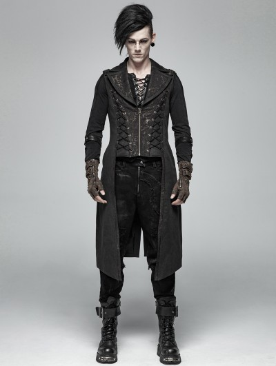 Punk Rave Black Vintage Gothic Victorian Long Vest for Men
