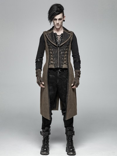 Punk Rave Brown Vintage Steampunk Long Vest for Men