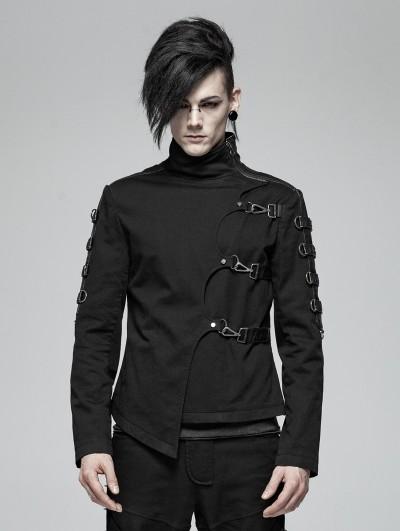Punk Rave Black Gothic Punk Asymmetric Short Jacket for Men