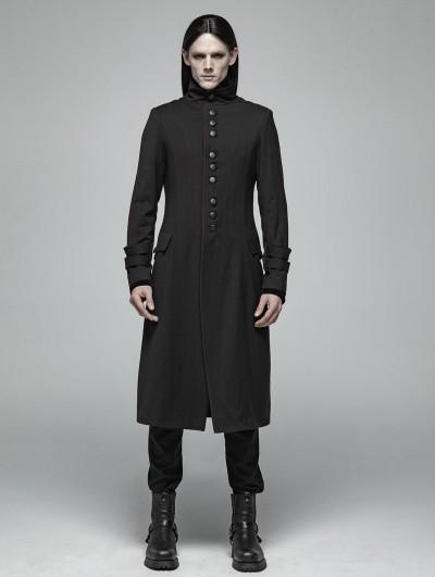 Punk Rave Black Simple Gothic Long Jacket for Men