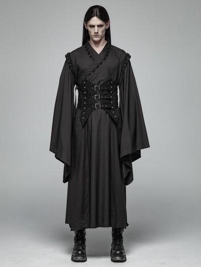 Punk Rave Black Gothic Dark Punk Han Elements Coat for Men