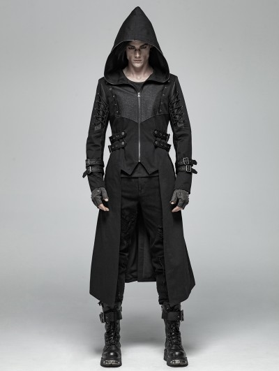 Punk Rave Black Gothic Punk Hooded Long Jacket for Men
