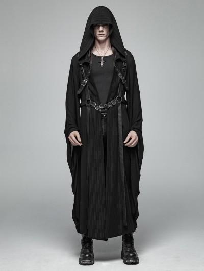 Punk Rave Black Gothic Dark Punk Harness Jacket for Men