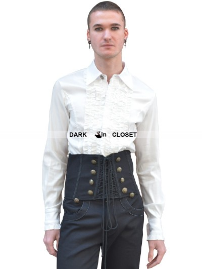 Pentagramme White Long Sleeves Gothic Blouse for Men