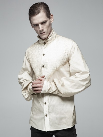 Punk Rave Ivory Vintage Gothic Daily Wear Shirt for Men
