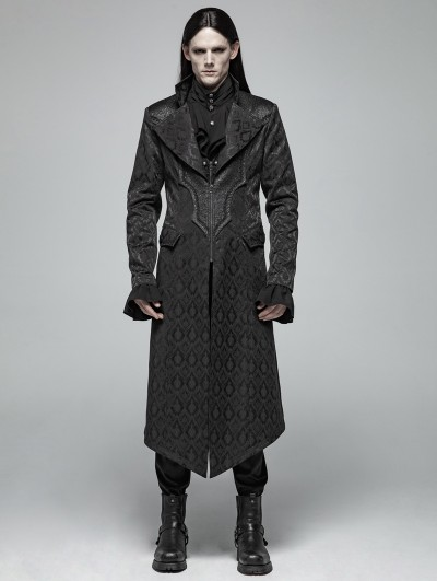 Punk Rave Black Vintage Gothic Jacquard Long Coat for Men