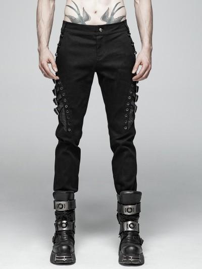 Punk Rave Black Gothic Punk Heavy Metal Rivet Trousers for Men