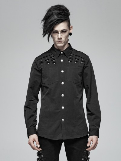 Punk Rave Black Gothic Punk Rivet Long Sleeve Shirt for Men