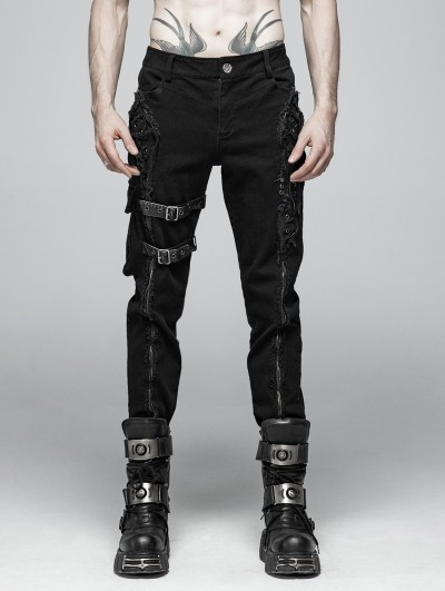 Punk Rave Black Gothic Punk Heavy Metal Zipper Belt Trousers for Men
