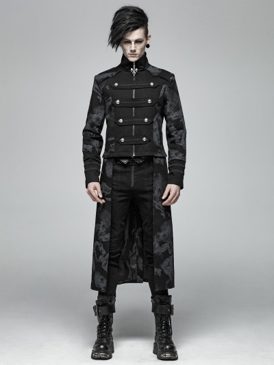 Punk Rave Gothic Punk Dragon Totem Detachable Coat for Men