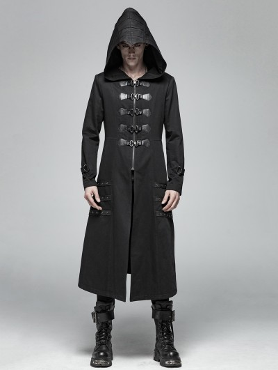 Punk Rave Black Gothic Punk Heavy Metal Long Jacket for Men