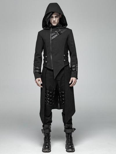 Punk Rave Black Gothic Punk Split Hooded Asymmetric Jacket for Men