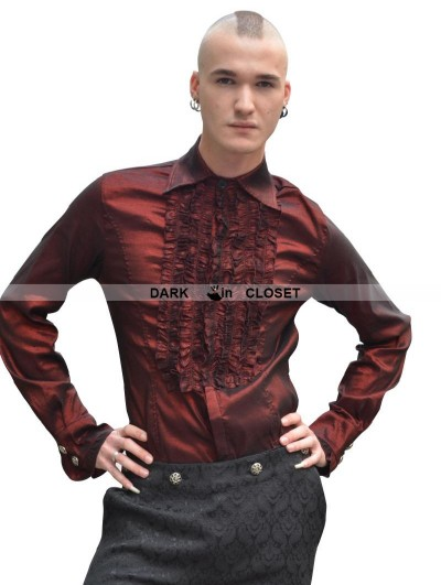 Pentagramme Wine Red Long Sleeves Gothic Blouse for Men