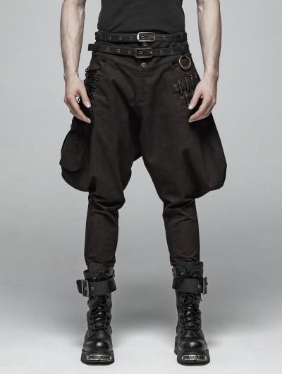 Punk Rave Brown Gothic Steampunk Breeches for Men