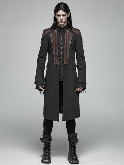 Punk Rave Black Steampunk Fake Two Pieces Coat for Men