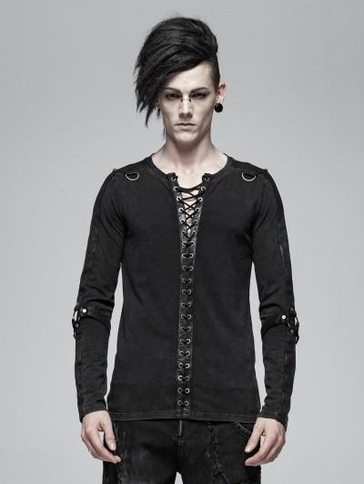 Punk Rave Black Gothic Punk Rope Belt Long Sleeve Shirt for Men