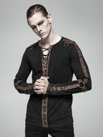 Punk Rave Brown Steampunk Long Sleeve Shirt for Men