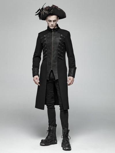 Punk Rave Black Gothic Rivet Zipper Mid-length Coat for Men