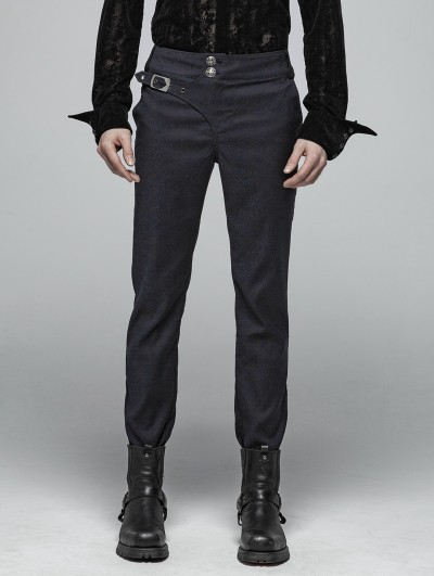 Punk Rave Blue Gothic Gentleman Simple Trousers for Men