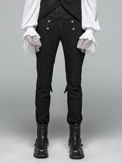 Punk Rave Black Vintage Pattern Gothic Daily Trousers for Men