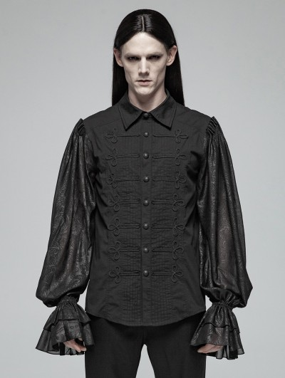 Punk Rave Black Gothic Retro Palace Long Sleeve Shirt for Men