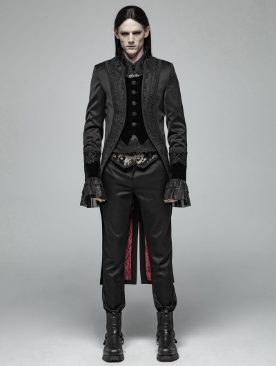 Punk Rave Black Gorgeous Gothic Retro Swallow Tail Coat for Men