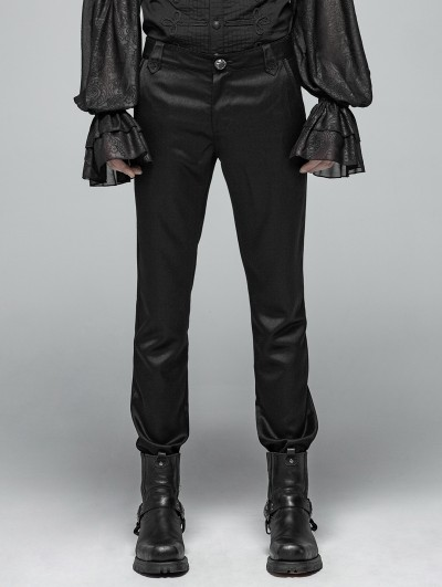Punk Rave Black Gothic Simple Daily Wear Trousers for Men