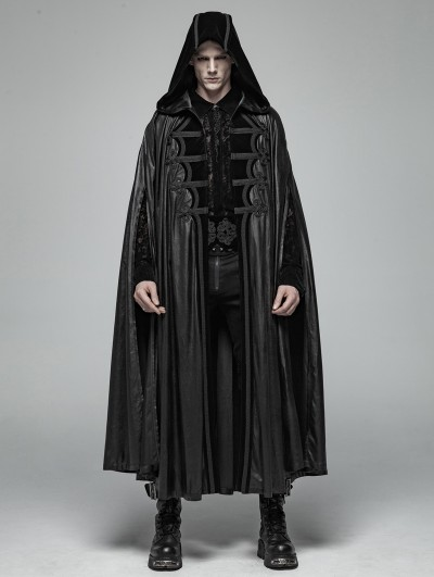 Punk Rave Black Gothic Retro Mystic Hooded Cloak for Men