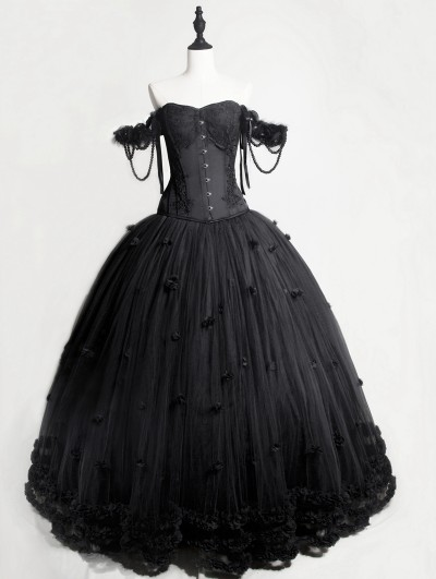 6f75bd0d1f0 Rose Blooming Romantic Black Gothic Flower Off-the-Shoulder Corset Prom  Ball Gown Long
