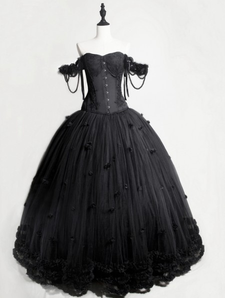 b42b1bafdeb7 Rose Blooming Romantic Black Gothic Flower Off-the-Shoulder Corset Prom  Ball Gown Long ...