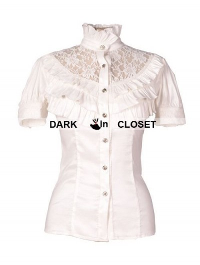 Pentagramme White High Collar Short Sleeves Lace Womens Gothic Blouse
