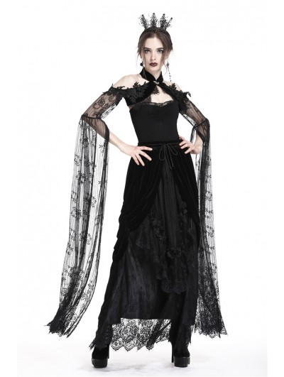 Dark in Love Romantic Black Gothic Super Long Lace Sleeves Cape for Women