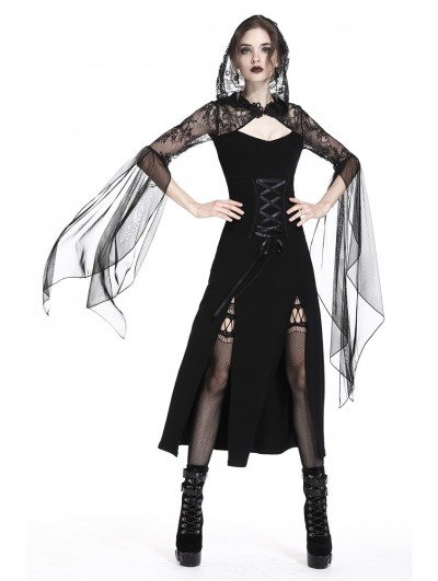 Dark in Love Black Gothic Lace Hooded Slits Sexy Long Dress