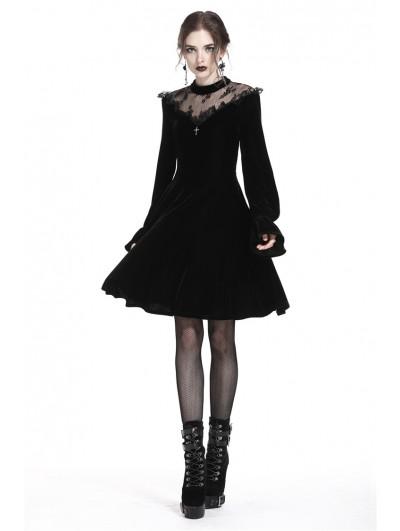 Dark in Love Romantic Black Gothic Cross Velvet Short Dress