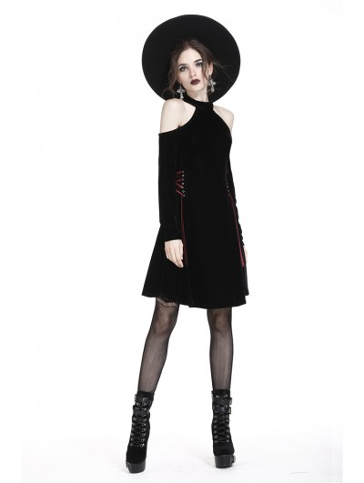 Dark in Love Black Gothic Sexy Off-the-Shoulder Velvet Short Dress