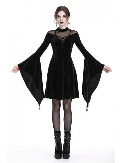 Dark in Love Black Gothic Velvet Long Trumpet Sleeves Short Dress
