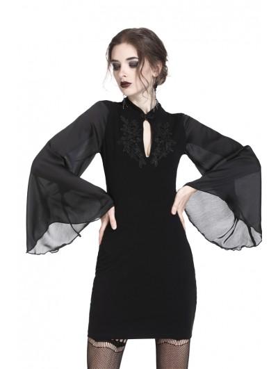 Dark in Love Black Vintage Gothic Velvet Mini Dress with Horn Sleeves