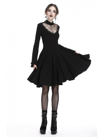 Dark in Love Black Gothic Punk Spiderweb Mid-Length Dress