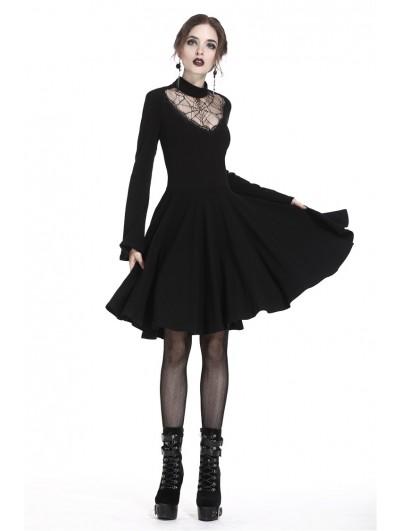Dark in Love Black Gothic Punk Spiderweb Mid-Length Dress