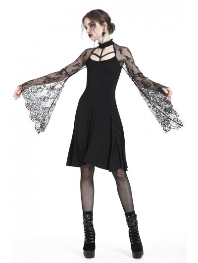 Dark in Love Black Gothic Sexy Lace Sleeves Mid-Length Dress